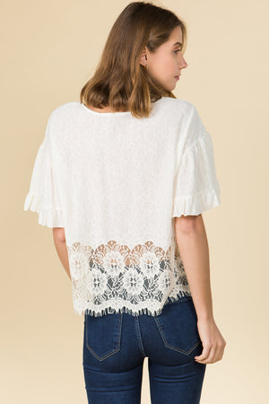 HALF AND HALF LACE RUFFLED SLEEVE ROMANTIC TOP