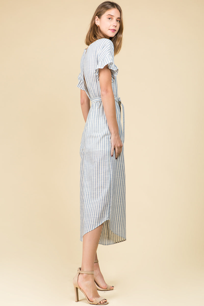 STRIPE RUFFLED SHORT SLEEVE COTTON JUMPSUIT WITH SELF TIE WAIST