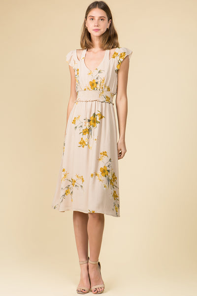 PEEK-A-BOO SHOULDER FLORAL MIDI DRESS