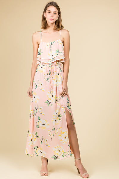 SLEEVELESS FLORAL DOUBLE RUFFLE MAXI DRESS WITH FRONT SLIT