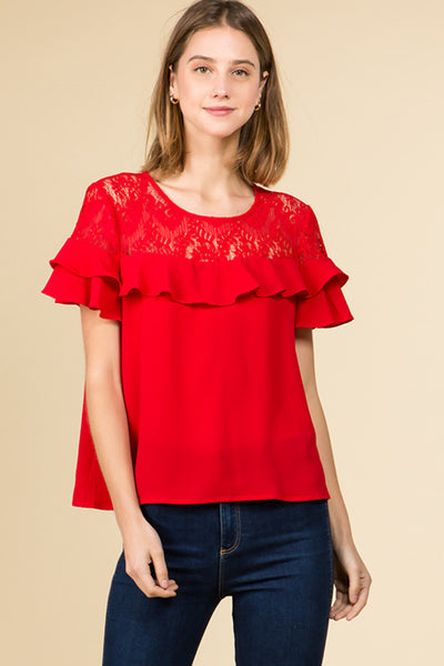 COLD SHOULDER RUFFLED DETAILED ROMANTIC BLOUSE