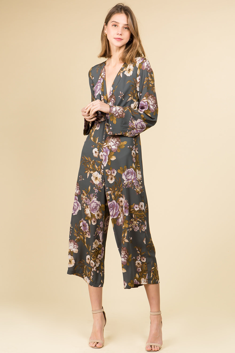 LONG SLEEVE TWIST FRONT MID CALF LENGTH JUMPSUIT IN FLORAL PRINT