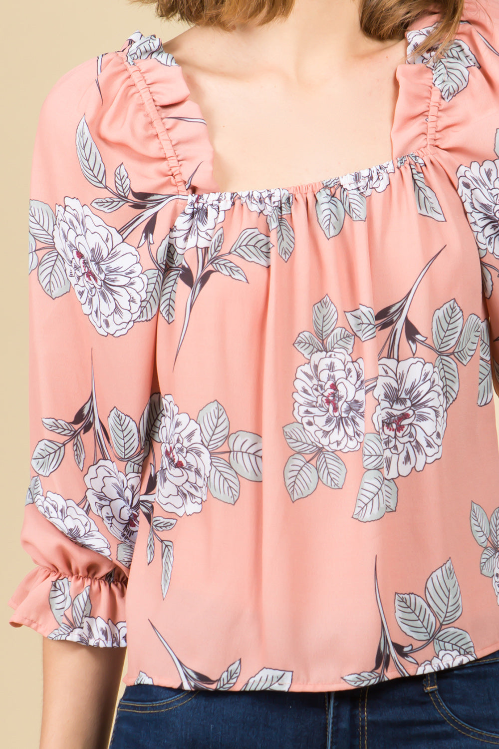 SQUARE NECK RUFFLE DETAIL FLORAL BLOUSE
