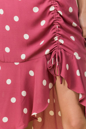 RUCHED MIDI RUFFLE SKIRT IN MAUVE POLKA DOT WITH ELASTIC WAIST