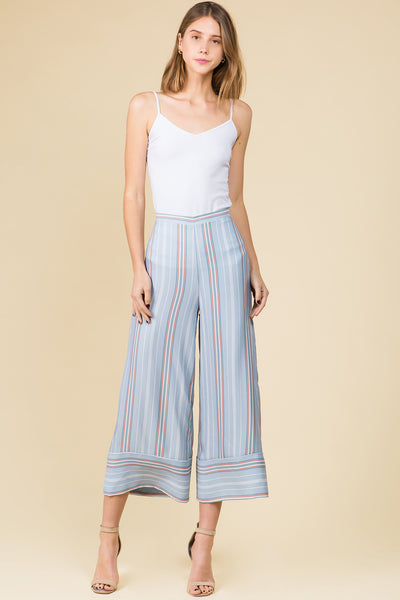 MID CALF STRIPED WIDE SILKY PANTS WITH ZIPPE BACK
