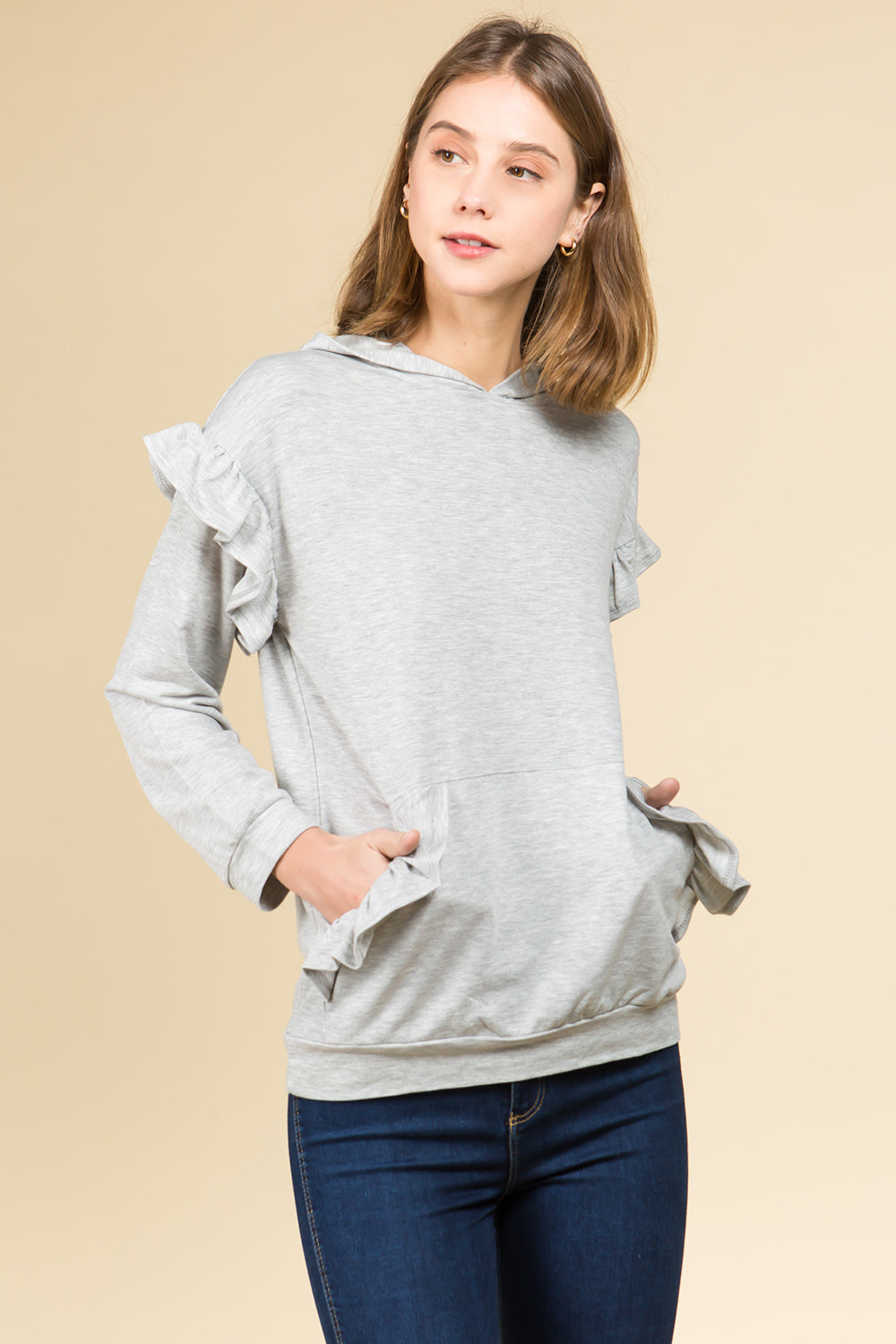 LONG RUFFLE SLEEVE HOODED TOP WITH POCKETS