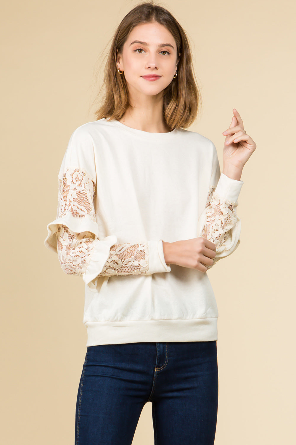 LACE DETAILED RUFFLE LONG SLEEVE PULL OVER