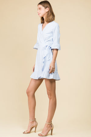RUFFLE SKIRT STRIPED WRAP DRESS WITH SELF SASH TIE