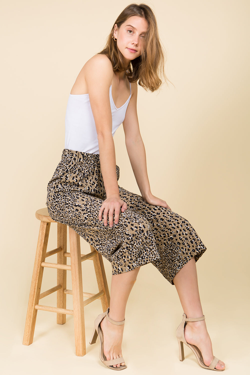 ANIMAL PRINT GAUCHO PANTS WITH ELASTIC WAIST
