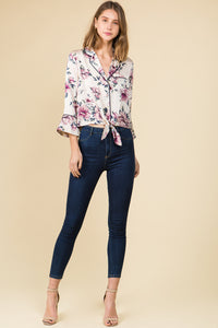 SATIN FLORAL COLLARED TIE FRONT TOP WITH CONTRAST PIPING
