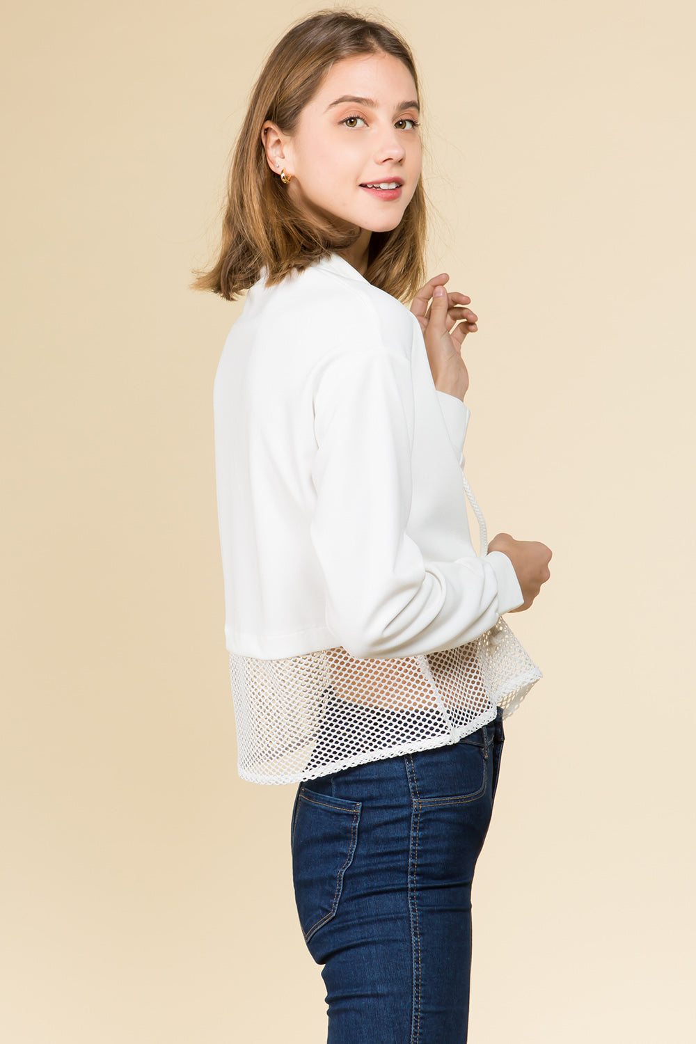 LONG CUFF SLEEVE HIGH NECK ZIPPER TOP WITH MESH