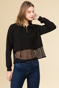 LONG CUFF SLEEVE HIGH NECK ZIPPER TOP WITH MESH BOTTOM AND DRAW CORD