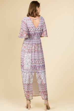 3/4 SLEEVE BACK SLIT PRINT PEBBLE CHIFFON MAXI DRESS WITH NECKLACE