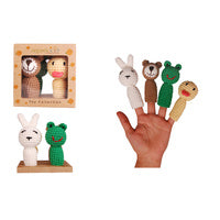 Organic Cotton Finger Puppet Set - Bunny, Bear, Frog and Duck