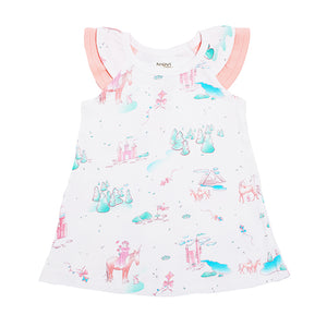 Organic Cotton Baby Flutter Sleeve Dress - Springtime Princess