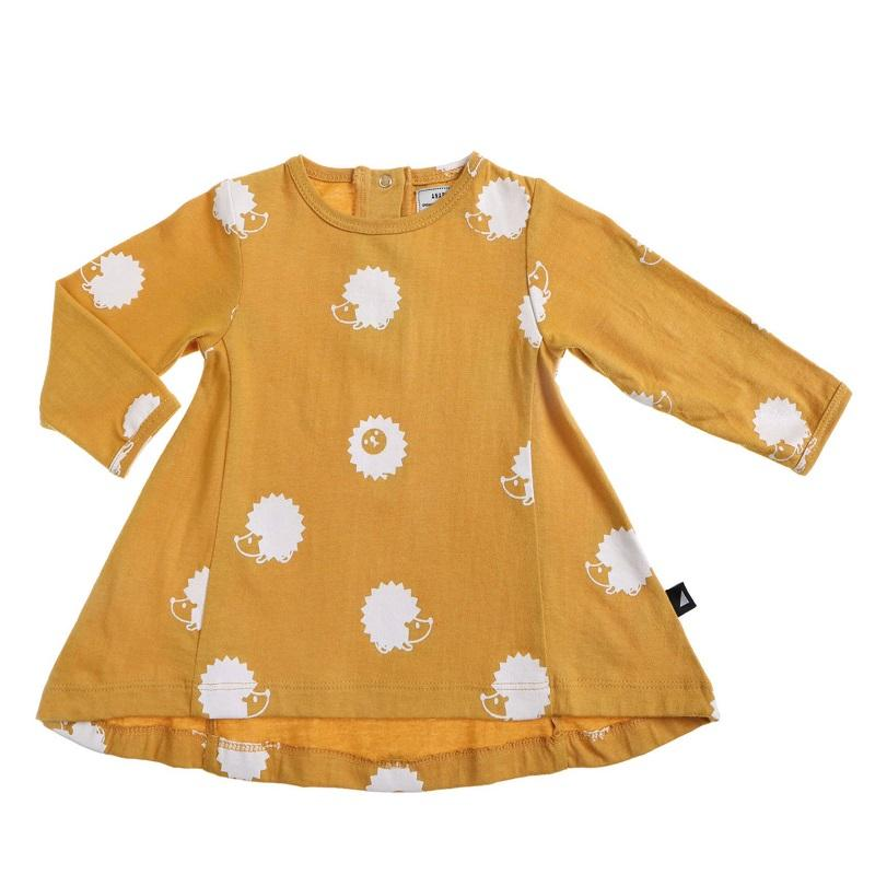 Anarkid Organic Cotton Long Sleeved Swing Dress - Mustard Hedgehog