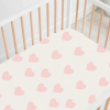 Load image into Gallery viewer, Fitted Bamboo Cot Sheet - Pink Hearts