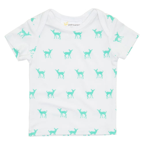Bamboo Short Sleeve Top - Green Deer