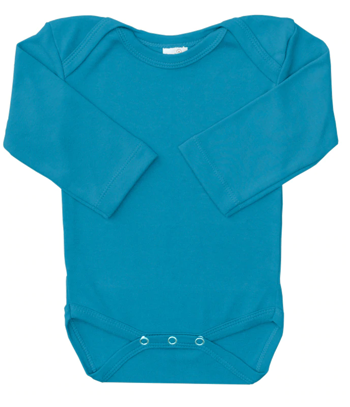 Dandelion Organic Cotton Long Sleeve Romper - Ocean