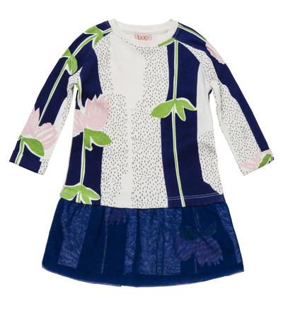 Baobab Organic Cotton Long Sleeve Dress - Navy Flower