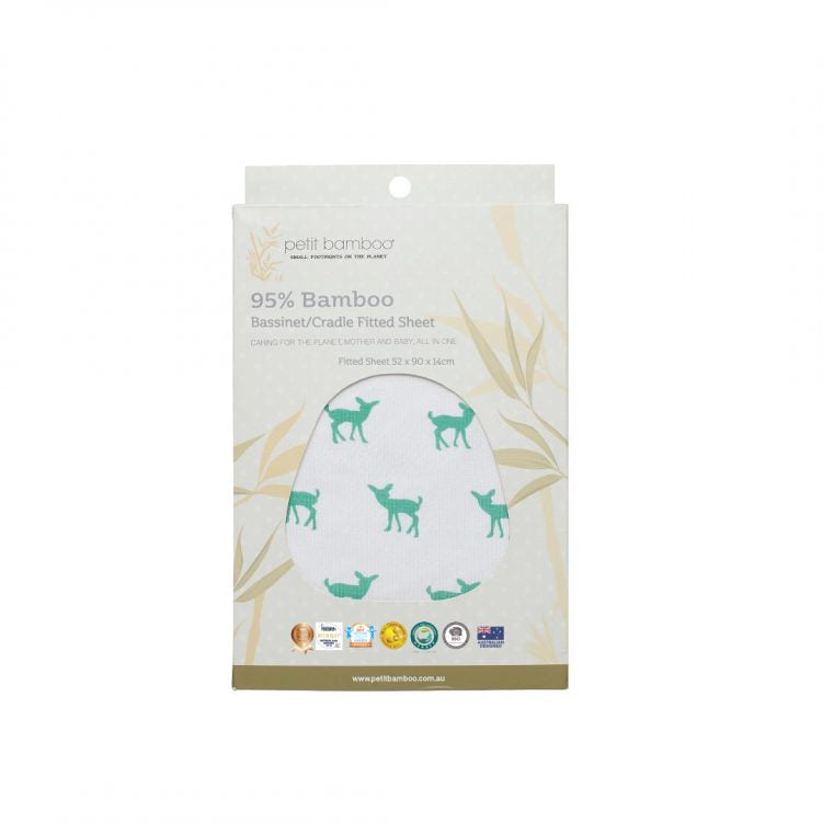 Fitted Bamboo Bassinet Sheet - Deer Green