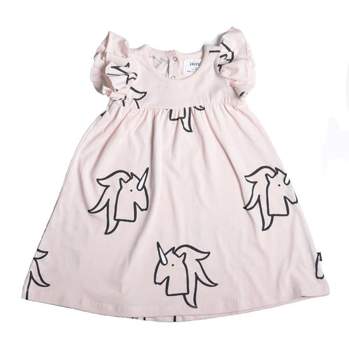 Anarkid Organic Cotton Short Sleeve Princess Line Dress - Unicorn