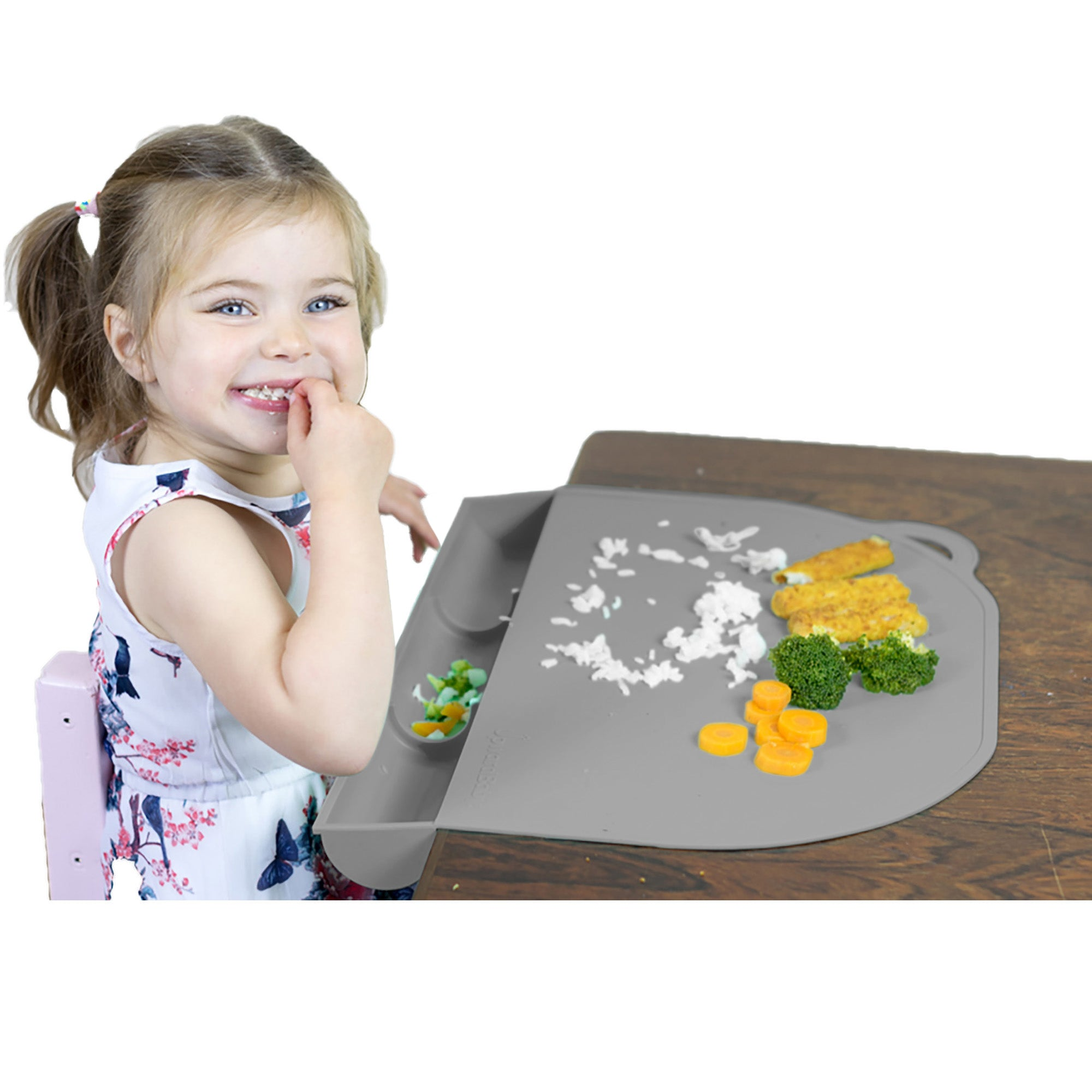 UpwardBaby Silicone Food Catching Suction Placemat - Gray