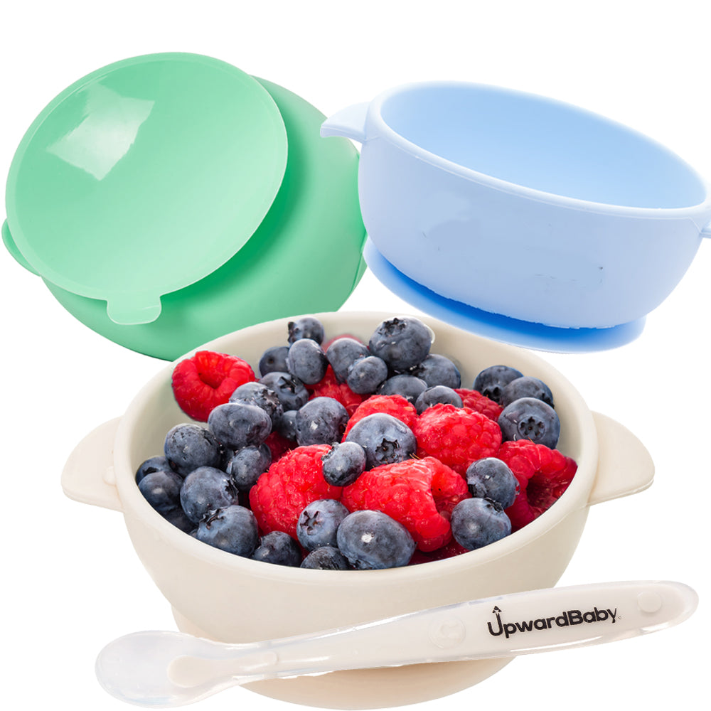 UpwardBaby Bowls With Guaranteed Suction - Perfect First Stage Self Feeding Set With Spoon Inlcuded