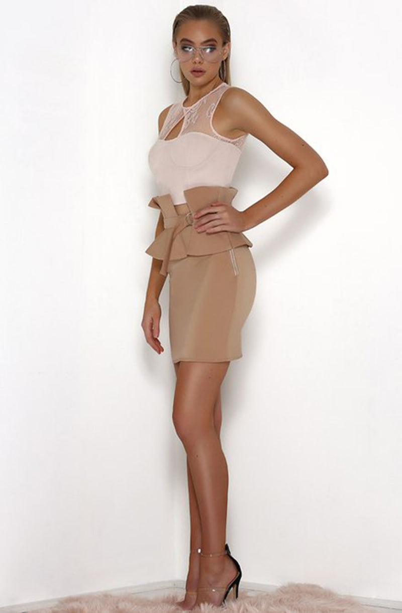 BEAU MINI SKIRT in WALNUT