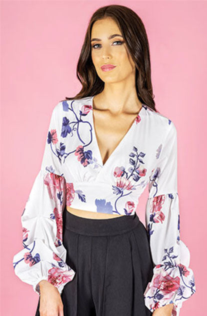 Briony Bell Sleeve Top - Floral