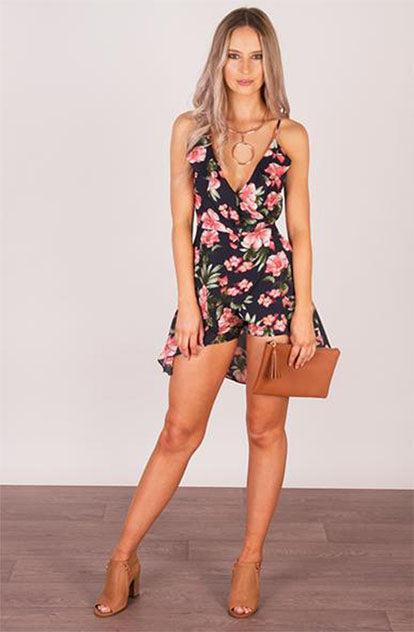 Floral Frill Playsuit in Dark Blue & Red front