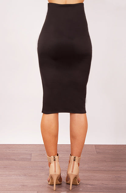 High Waisted Midi Skirt in Black