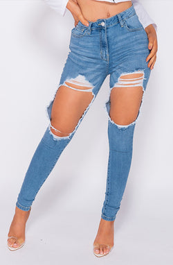 Lara Distressed High Waist Skinny Jeans