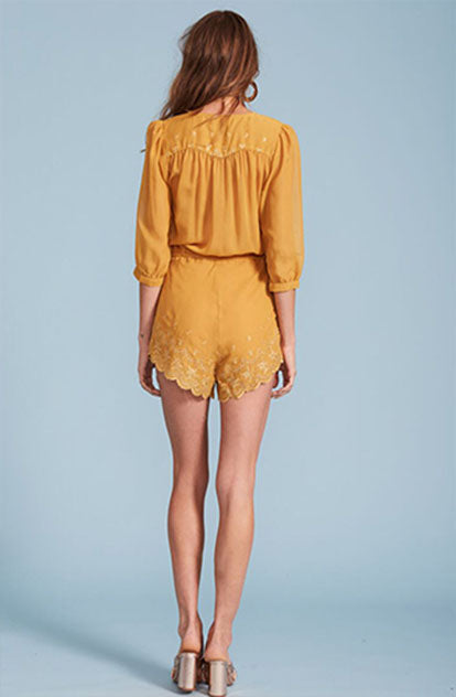 San Fernando Playsuit in Mustard back
