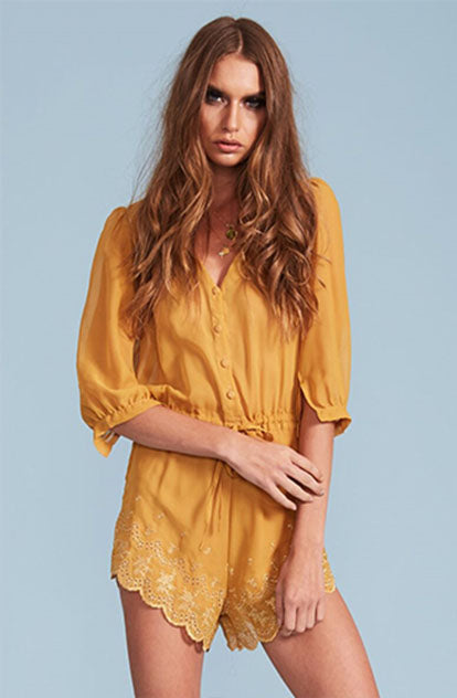 San Fernando Playsuit in Mustard front