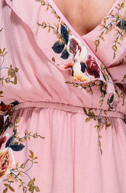Eden Cold Shoulder Playsuit in pretty pink with flowers close up