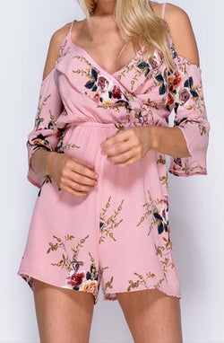 Skylar Cold Shoulder Playsuit in pretty pink with flowers front