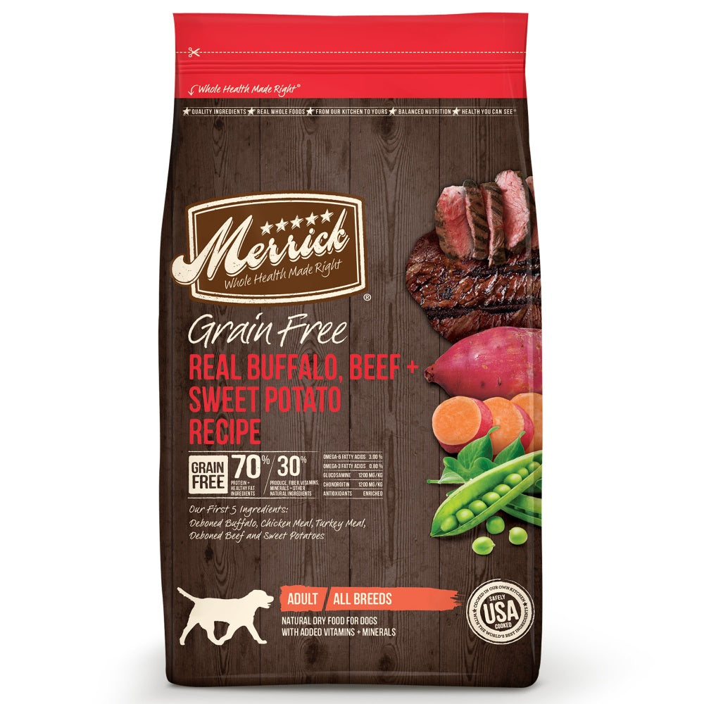 Merrick Grain Free Real Buffalo, Beef and Sweet Potato Dry Dog Food