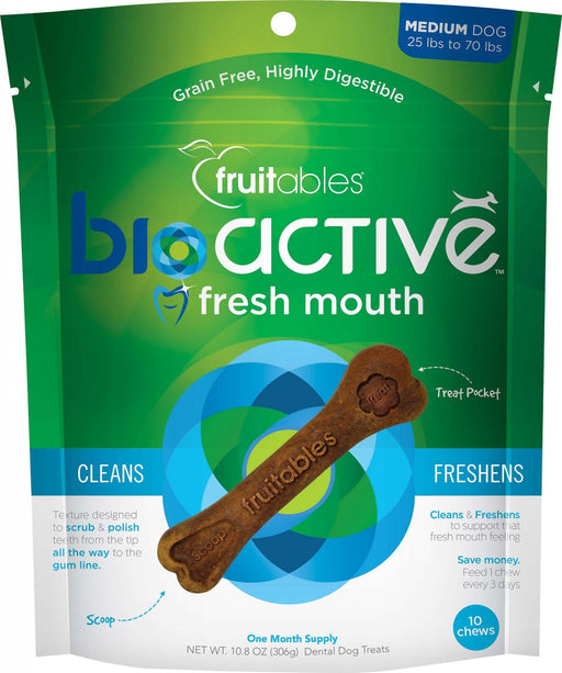 Fruitables BioActive Fresh Mouth Grain Free Dental Chews for Dogs