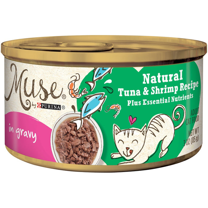 Purina Muse Natural Adult Grain Free Tuna and Shrimp Recipe in Gravy Canned Cat Food