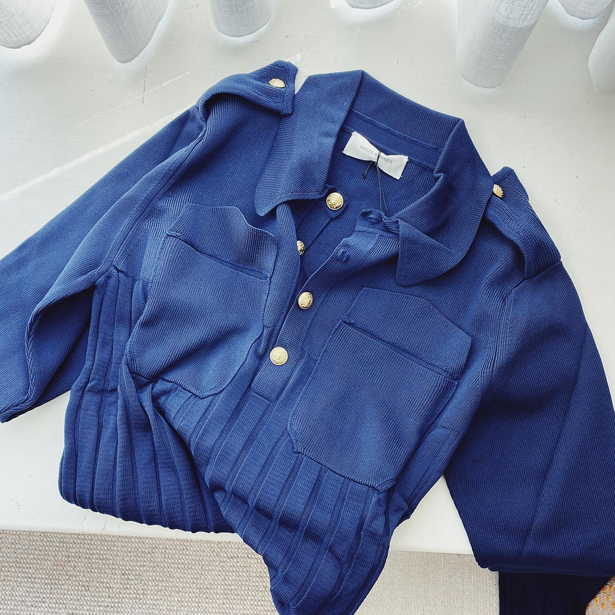 Wales Bonner navy blue sweater on sale at LCD.