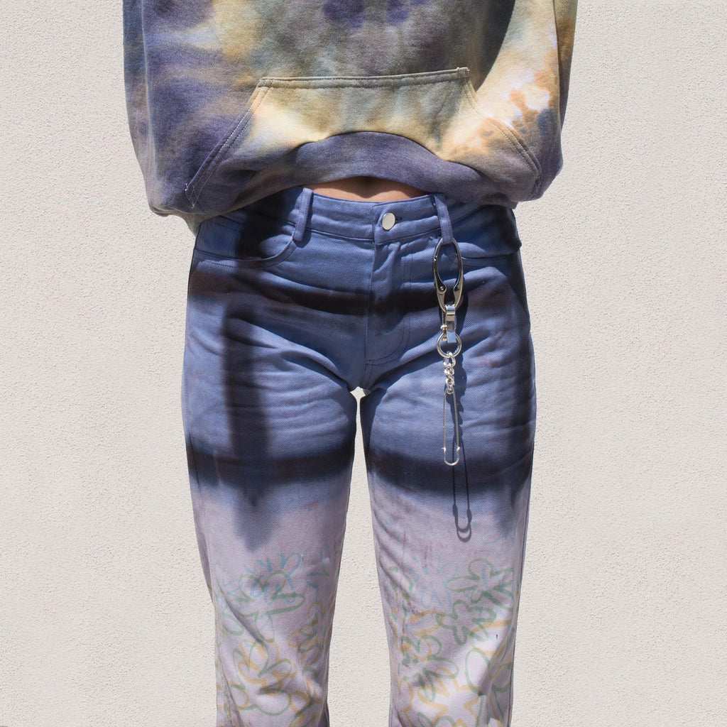 Collina Strada - 5-Pocket Jean - Navy Flower, front detail, available at LCD.