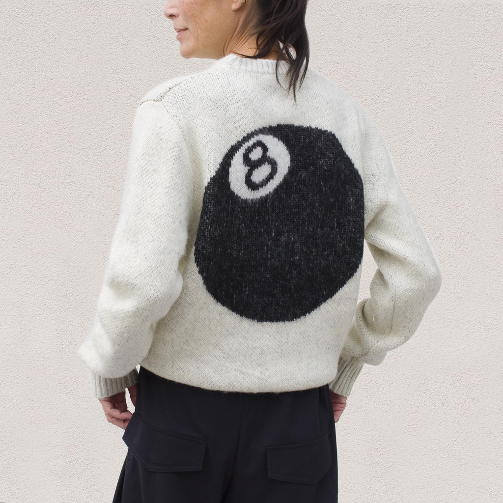 Stussy - 8 Ball Sweater - Cream, back view, available at LCD.