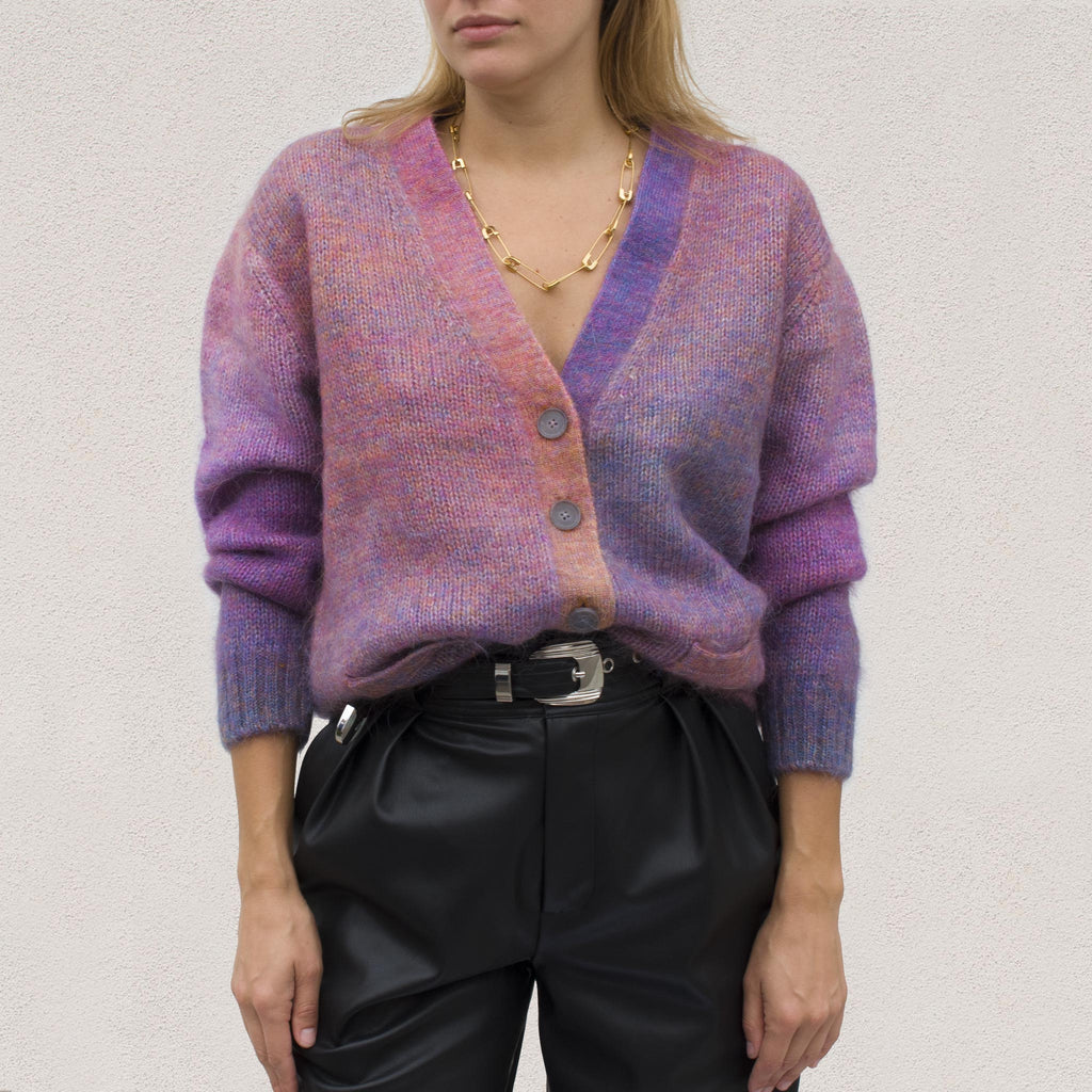 Re/DONE - 90s Oversized Cardigan in Space Dye, front view.