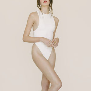 Anna Maria Blanco - Elena Swimsuit in Mother of Pearl, front view, available at LCD.