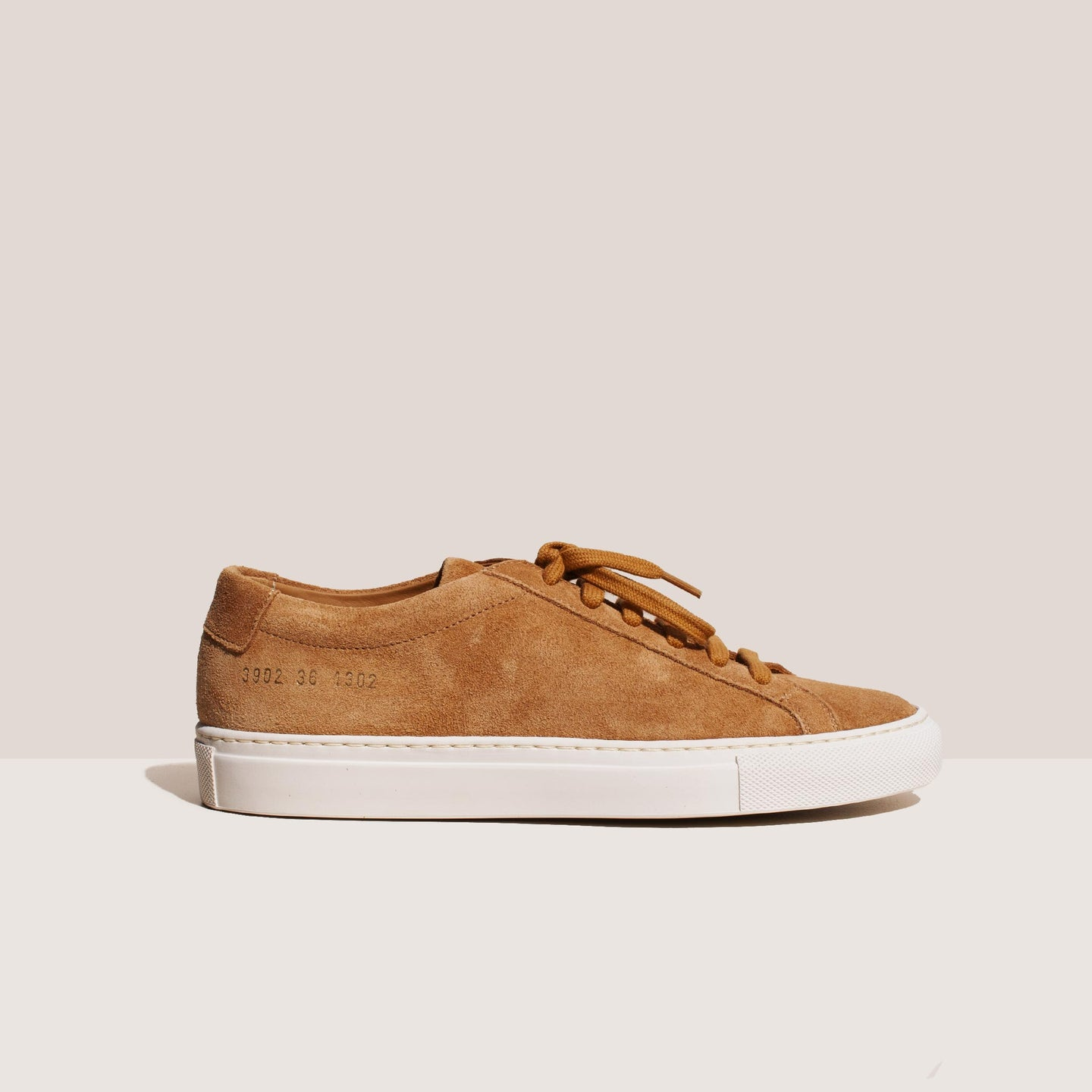 Common Projects - Original Achilles Low - Tan Suede, side view, available at LCD.