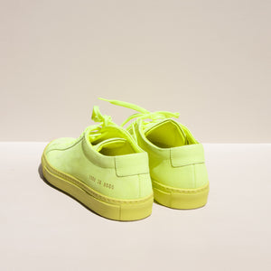 Original Achilles Low Fluo in Neon Yellow, rear view, available at LCD.