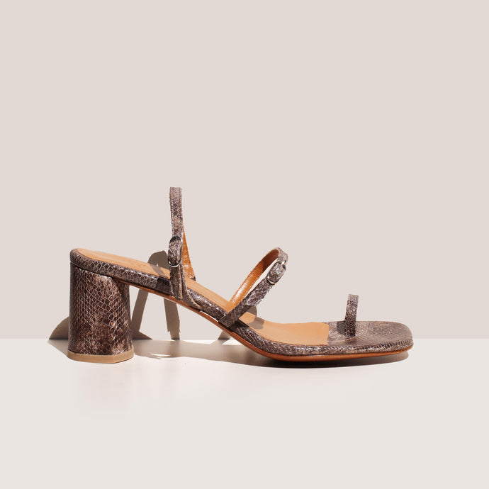 LoQ - Alba Sandal - Caliza Snake, side view, available at LCD.