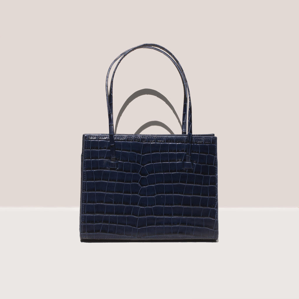 Maryam Nassir Zadeh - Anika Purse - Navy Croc, front view, available at LCD.