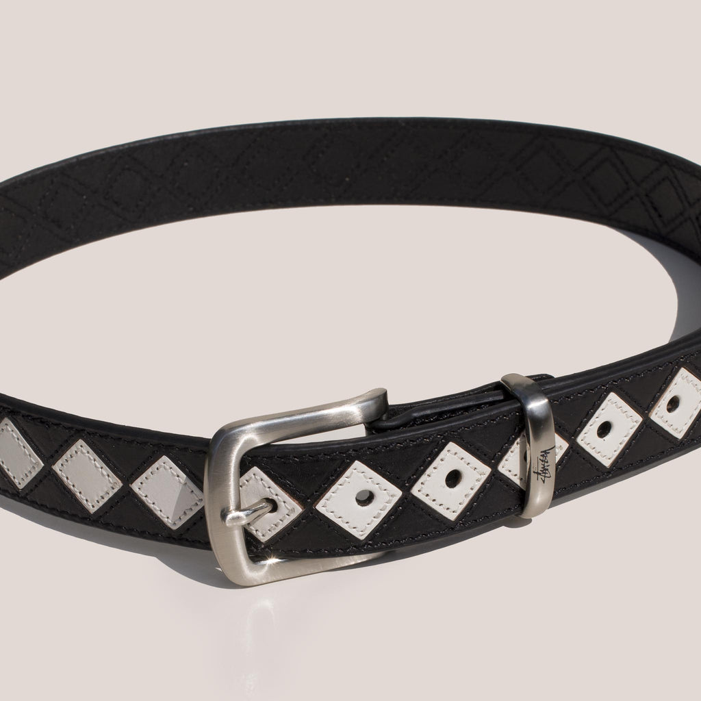 Stussy - Argyle Stitch Leather Belt in Black.